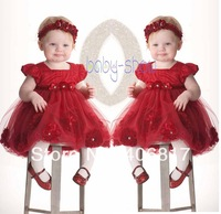 New 2014 spot after zipper red lantern sleeved Chiffon princess dress + headdress flower Baby girl's evening dress for 2-4 Y