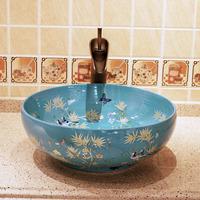 Resolved platform basin wash basin blue print bathroom ceramic bathroom wash basin chinese style 037