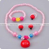 Kid Jewellery Children Party Gift Costumes 4-PC Set Jewelry Set Lovely Ladybug Ladybird Shiny Beads Wholesale 24sets/lot FKJ0051