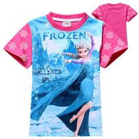 2014 New frozen Girl T shirt Anna Elsa children clothing popular cotton clothes girl clothes cute blue kids clothes