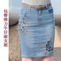Women 2014 New Slim Summer Fashion Beading Embrodiery Denim Skirt Ladies blue flower pencil Skirts S-3XL
