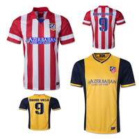 Free Shipping 13 14 Atletico de Madrid Home Player Version Soccer Jersey 2014 Away Yellow DAVID VILLA Football Shirt Camiseta