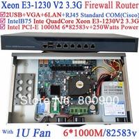 RouterOS 2014 new arrival 1U Firewall network router Barebone 6 lan port 82583v Inte Quad Core Xeon E3-1230 V2 3.3Ghz no graphic