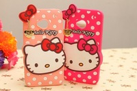 MOQ 1pcs 3D KT Hello kitty Polka dots soft Silicon back cover for HTC ONE M7 with Metal Pendant, with Retail box,Free Shipping