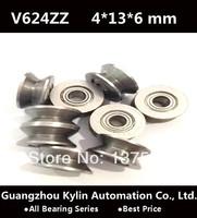Best Price! 40pcs V624ZZ ball bearing with V-shaped slot,high-carbon bearing steel  4X13X6mm V624ZZ free shipping