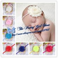 "2.5"" Chic Shabby Chiffon Flower On Thin Elastic Headband Innfat Baby Headbands Kids Hair Accessories 50pcs/lot"