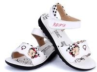 Cowhide genuine leather child sandals female child princess shoes sandals cartoon doll 2014 summer Girls sandals size 26-37