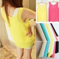 New candy color wavy burning side chiffon tank top shirt women vest cheap