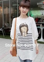 Summer Clothes For Pregnant Women Cartoon Girl Half-sleeved T-shirt/ Materity Top / Tees WDST10