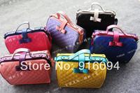 New fashion 2014 women's genuine leather handbag dimond plaid bow doctor bag color block messenger bag handbag free shipping