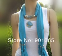 Pendant Scarf Charms Ring Jewelry Beads Soft Shawl Scarves Necklace Wraps 14 Colors Available