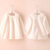 2014 spring lace crochet girls clothing baby child long-sleeve dress qz-1587