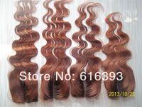 "Highest Quality Ombre Color Piece 4""x4"" #2T33 Body Wave Virgin Peruvian Ombre Lace Closure Bleached Knots, Weave Closure"