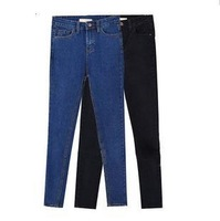 jeans woman size S M L new 2014 solid color tight elastic high waist skinny jeans pencil