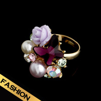 Special Rings Man Made Pearls Synthetic Zircon Ceramic Flower  Fashion Sweet Design Free Shipping Adjustable Jewelry JZ13A06033