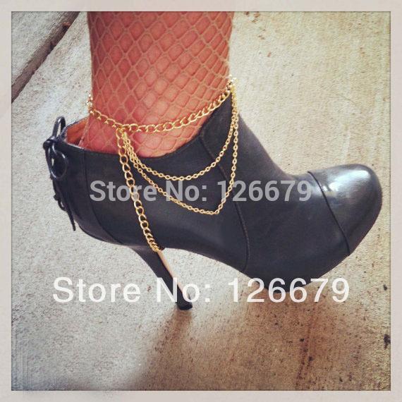 2014 nova moda verão Boho ouro ou prata Harness Ankle cadeia sapatos alto botas sapato cadeia tornozeleira pé cadeia de jóias de produtos(China (Mainland))