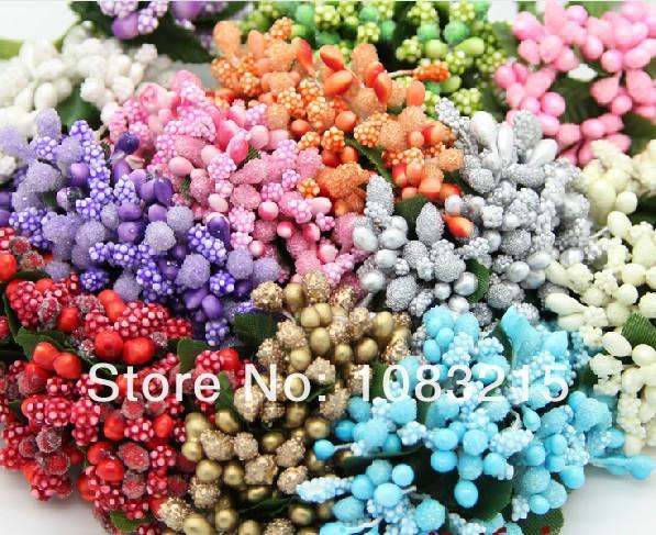 Pear Crystal Beaded Artificial flowers stamen / Wedding favor box decor -144pcs/lot Free shipping(China (Mainland))