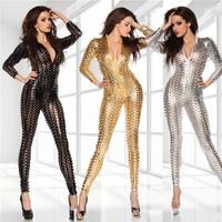 Silver Gold Black Jumpsuit Catwoman Pole Dance Clothes Women Bodysuit