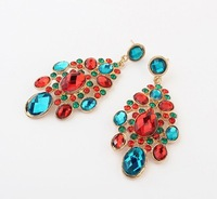 Free shipping pendientes de la borla luxurious summer national tassel earrings fashion vintage shining colorful drop earrings