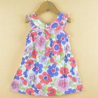 Summer Girls Dress New Designer 100% cotton 2014 summer flower child baby dress princess dress retail free shipping D5