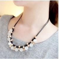 free shipping 2014 new desgin Korean Vintage Exaggerated Rhinestone crystal leather ropeshort Necklace ,fashion jewelry