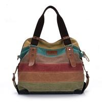 2014 New women Fashion canvas bag handbag shoulder bag girl messenger bag patchwork women's lady striped totes free shipping