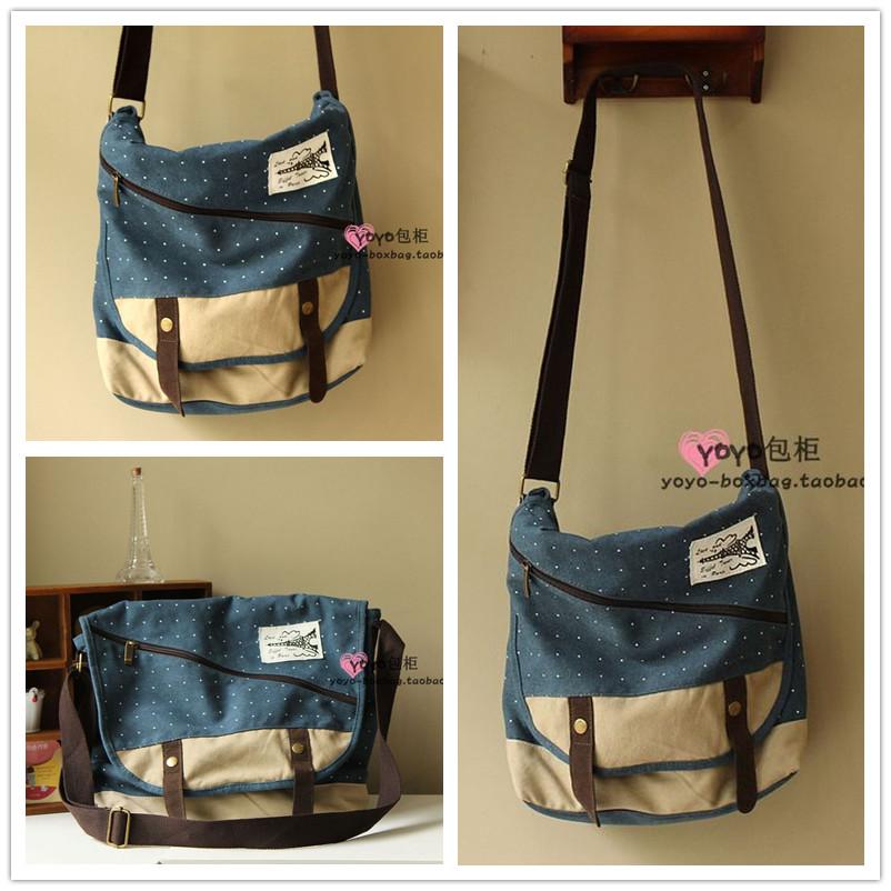 Polka dot canvas bag casual messenger bag preppy style college students school bag female fashion(China (Mainland))