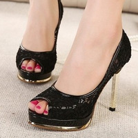 Brand Lace High Heels Women Platform Pumps Peep Toe Woman shoe Female Summer Sandals Shoes 11.5Cm black and beige Size 35-39