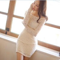 Korea Style Fashion Lace Dress Strapless Long Sleeve Dresses Sexy Club Pencil Dress Spring Summer Women Black White Dress,2color