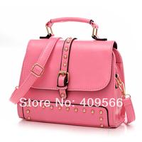 2014 New Arrivel Women's handbag Messenger Bag Rivet Fashion Tote Shoulder Bag for Famale 7-colours high quality bags pu leather