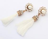 Free shipping pendientes de la borla 2014 summer national luxurious jewel earrings fashion white tassel drop earrings for women