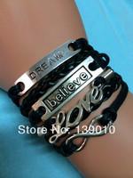 Free Shipping!6PCS/LOT!Antique Silver Dream Believe LOVE Infinity Charm Black Leather Rope Bracelet Men Costume Jewelry K-652