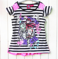 Retail Girl's 2014 Summer T-shirts Children's Cartoon Monster High Fashion Lace Stripe T-shirt Brand Tops Tees Free Shipping