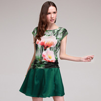 2014 silk top women's mulberry silk summer short-sleeve fashion shirt silk t-shirt