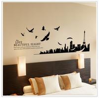70*180cm 1set  I Love Paris Living Room Vinyl Wall Art Decals Eiffel Tower Decoration Stickers For Kids Room Wallpapers 3D Decor