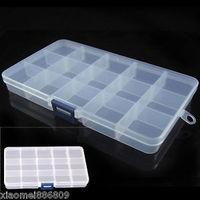 2014 Plastic 15 Slots Jewelry Adjustable Tool Box Case Craft Organizer Storage Beads