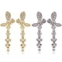 2014 New Fashion Gold Earring Czech Crystal Big Earrings Drop Earrings for Women Long Earring Silver Earing ML-438
