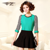 2014 spring sweet color baroque beading patchwork stripe fashion t-shirt top