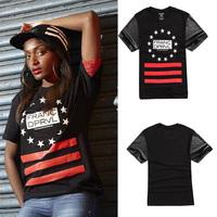 HEY GUYS Fashion girls red five stars tshirt style hip hop pu leather sleeve dress men brand t shirt  women t-shirts