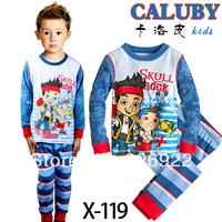 "Free Shipping 6SET/LOT ""CALUBY"" skull rockBABY & kids Cartoon Boys suit sleepwear baby pyjamas"