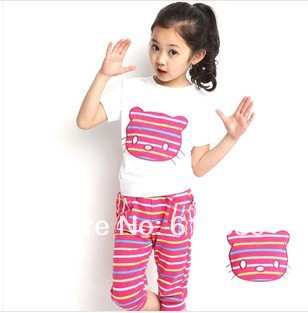 2014 summer new models girls cat suits for children(China (Mainland))