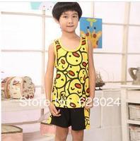 Free shipping, The new boy cute cartoon printed vest 100% cotton Pyjamas