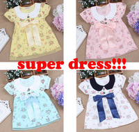 Baby children clothing 2014 new spring sweet flower bow lace girls dresses kids princess girls clothes baby girl party dress 14z