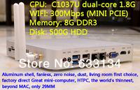 8G/500G HDD WIFI C1037U dual-core Celeron CPU HD mini computer mini pc industrial computer win7 host USB3.0  dual Gigabit LAN