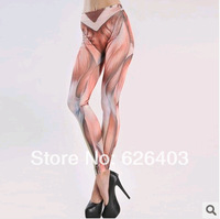 2014 new women's sexy fashion leggings, high-waisted pants boutique muscle pattern 9, feet was thin women pants, free shipping