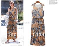 New 2014 spring summer women's clothing plus size shaped chiffon long bohemian sleeveless,casual o-neck long print  beach dress