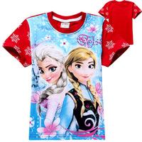 New Spring 2014 Summer  Frozen Elsa Anna Children t shirts baby & kids Short Sleeve Girl t shirt brand t-shirtsFree Shipping