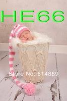 free shipping,CROCHET NEWBORN BABY white & pink  LONG TAIL ELF HAT,100% cotton baby Stocking Hat - PHOTO PROP
