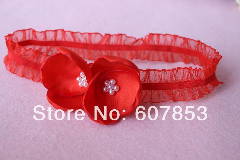 2014 Baby/Girl Pearl Burned hair flowers headband ,Satin Fabric Hair flower on Sheer ORGANZA Ruffle elastic headband(China (Mainland))