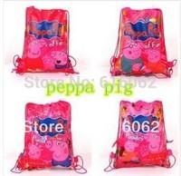 2014 new style Free shipping 20pcs/LOT peppa pig+George pig  Cartoon Drawstring Backpack Bag ,Children Kids Bag 34X27CM,dz-008